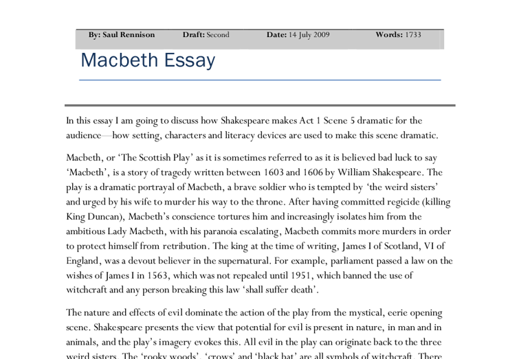 macbeth how setting characters and literacy devices are used to  document image preview