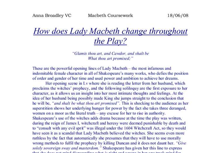 Essay on how macbeth and lady macbeth change