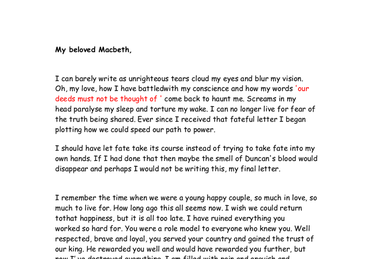 a letter from lady macbeth to her husband gcse english marked  document image preview