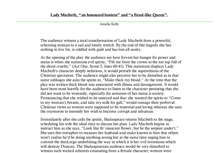 Is lady macbeth truly a fiend like queen? gcse