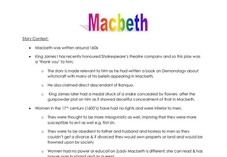 outline of macbeth What happens inmacbeth the story of shakespeare's most intense tragedy is  condensed into this summary that hits all the important plot.