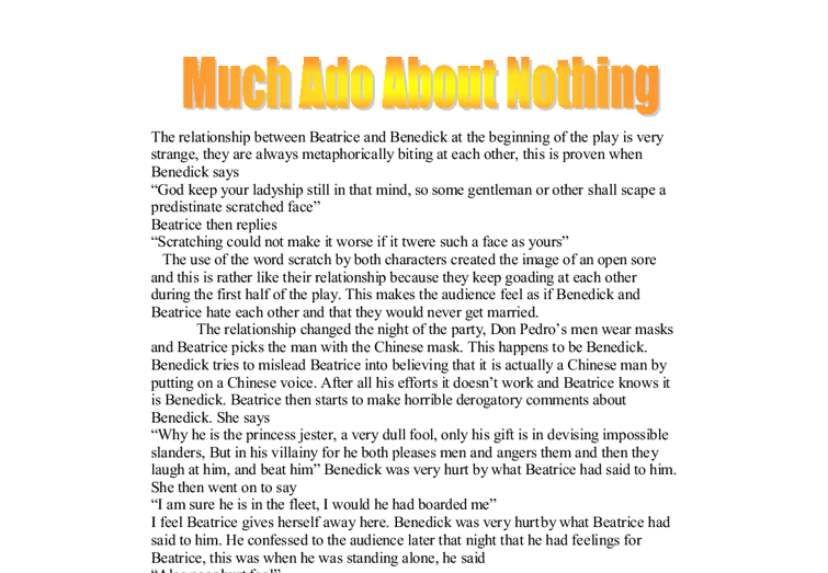 essay much ado about nothing