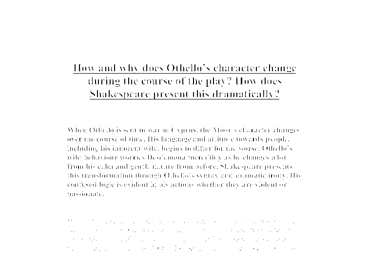 how and why does othello s character change during the course of  document image preview
