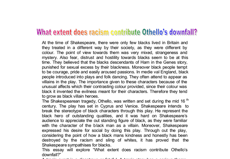 Critical essay on othello - Plagiarism Free Quality College Essay ...