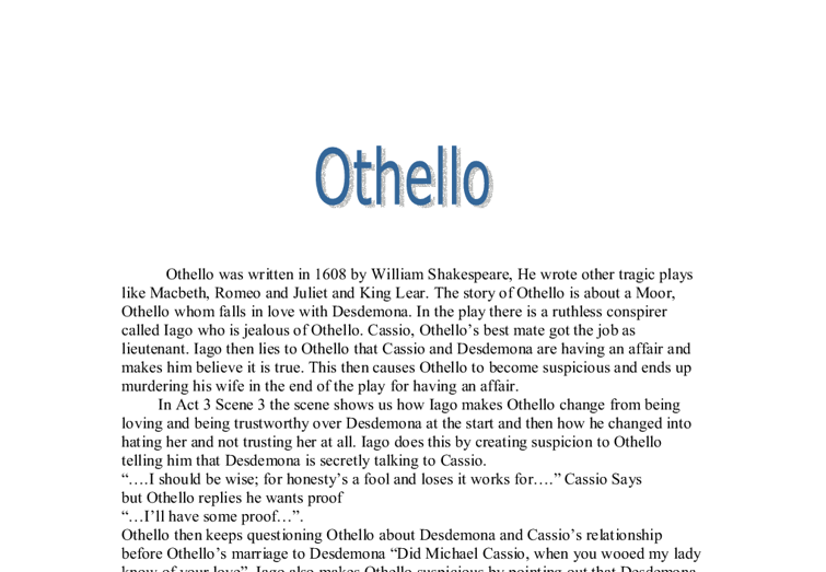 Othello analysis essay
