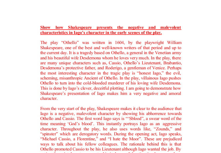 how does shakespeare present iagos manipulation A summary of act iii, scenes i–iii in william shakespeare's othello learn exactly what happened in this chapter, scene  iago, othello.