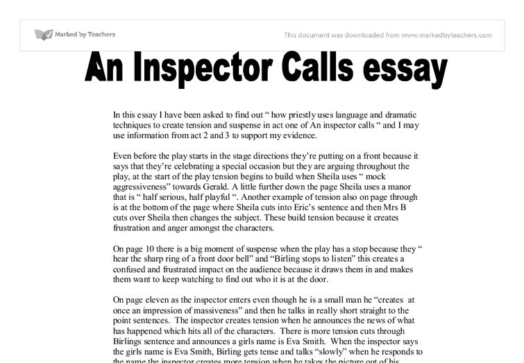 an inspector calls who is the inspector essay An inspector calls an inspector calls by jb priestley is set in the period 1912, the year when the titanic had sunk and the world war one was to begin in.