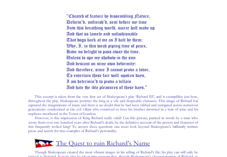 essay on richard iii and looking for richard