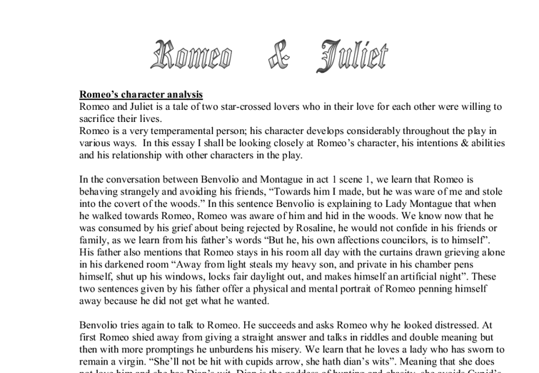 does romeo develop as a character Romeo and juliet study guide contains a biography of william shakespeare, literature essays, a complete e-text, quiz questions, major themes when her mother insists she consider paris as a potential mate, juliet is clearly uninterested, but understands that a vocal refusal will gain her nothing.