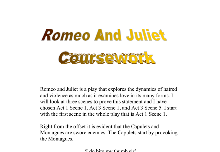 Romeo and juliet gcse coursework help