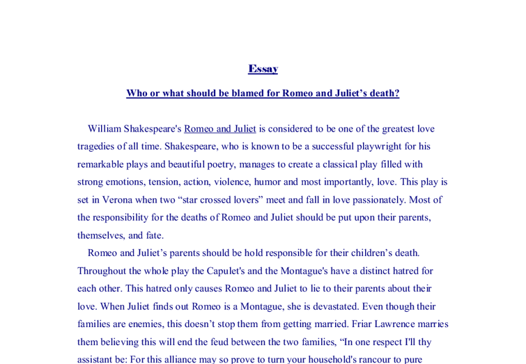who or what should be blamed for romeo and juliet s death gcse  document image preview