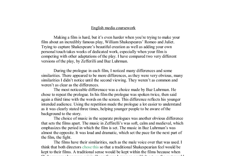 Gcse english coursework media