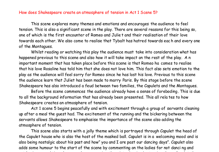 tension in act 1 scene 5 essay Act 1 scene 5 tension in romeo and juliet free essays, term papers and book reports thousands of papers to select from all free.