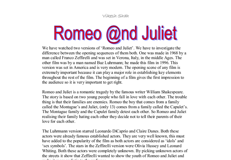 Media coursework romeo and juliet