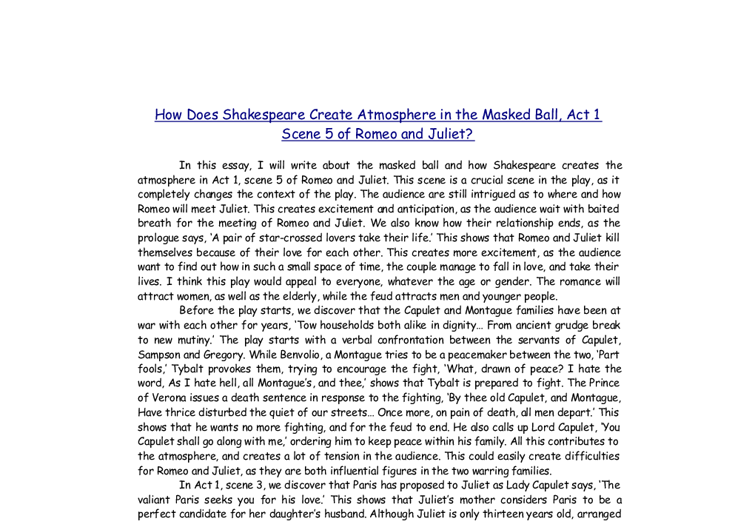 romeo and juliet masked ball essay The theme of death in shakespeare's romeo and juliet essay 1189 words 5 pages show more the theme of death in shakespeare's romeo and juliet (masked ball).