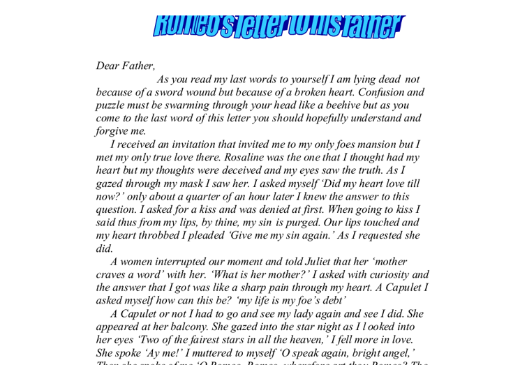 romeo s letter to his father romeo and juliet gcse english document image preview