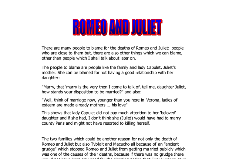Who Is Blame for Romeo and Juliet's Death