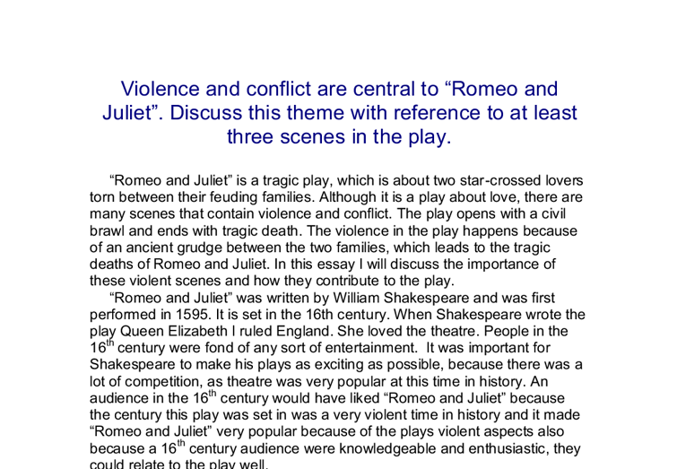 Romeo and juliet essay violence and conflict