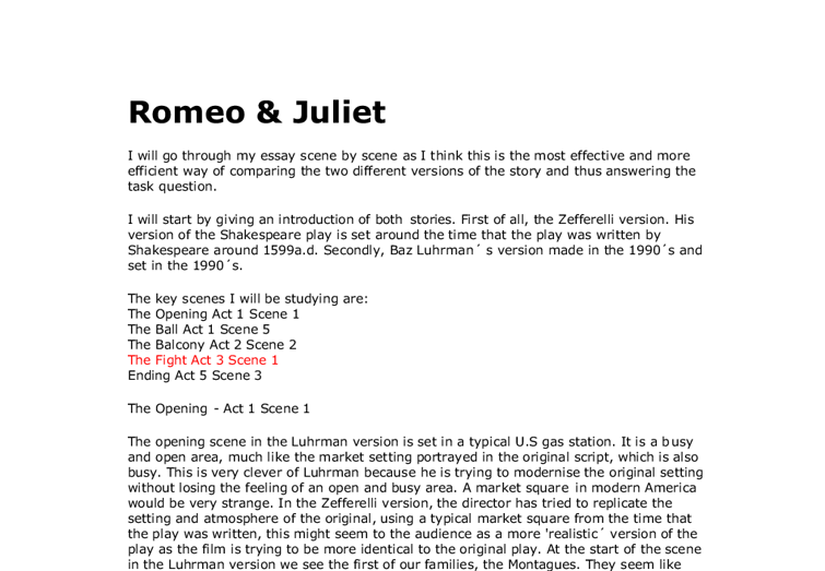 Romeo and Juliet Movie and Text Comparison Essay