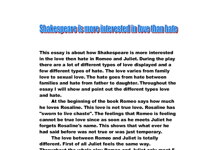 Hate in Romeo and Juliet (10/12)