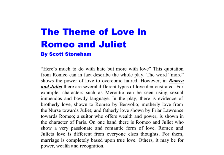 essay for romeo and juliet love themes