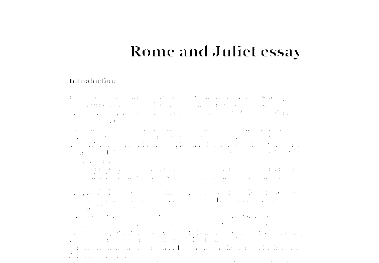 Romeo and Juliet Essay | Bartleby