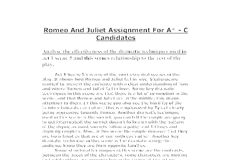 romeo and juliet scene 1 act 5 essay