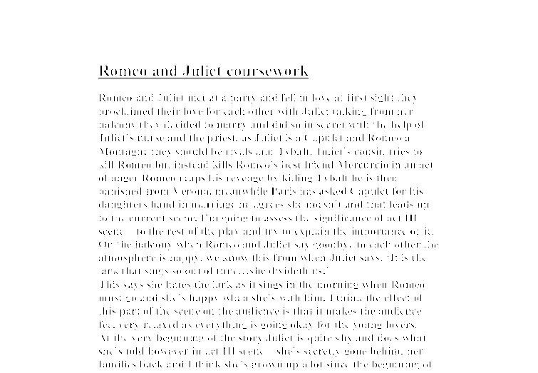 Opinion on romeo and juliet essay
