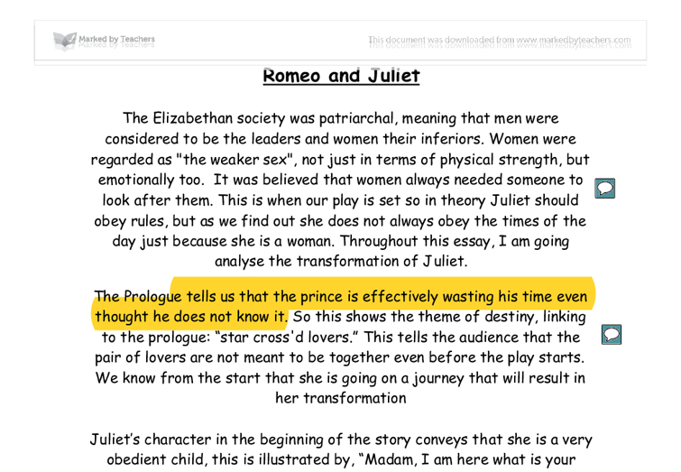 Romeo and Juliet help for essay?