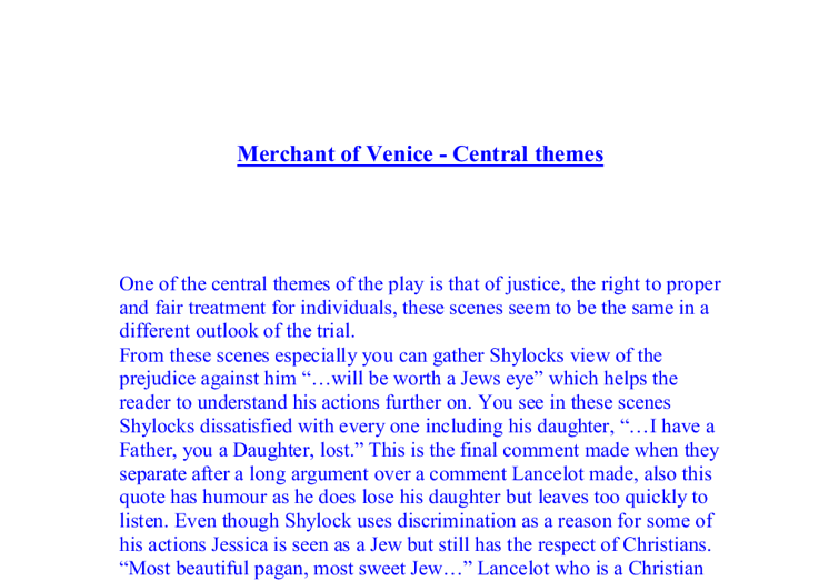 thesis statement about shylock Merchant of venice study guide contains a biography of william shylock responds that he will never eat with a bassanio takes this statement at face.