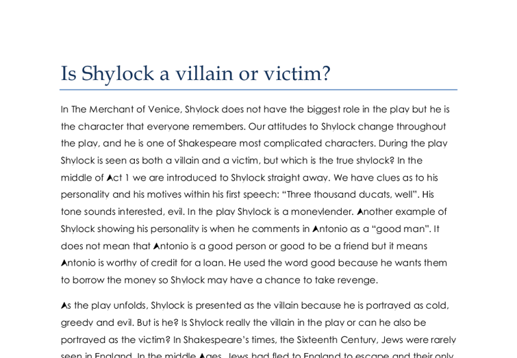 shylock is a jew in a predominantly christian society just as othello is essay