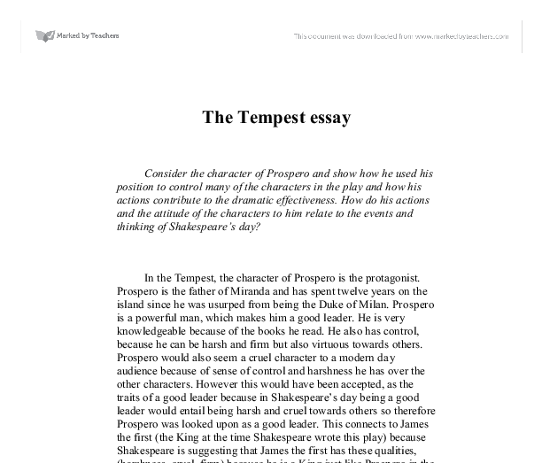 tempest prospero essay Student help on shakespeare's tempest with study questions and book excerpts and much more tempest resources introduction to prospero.