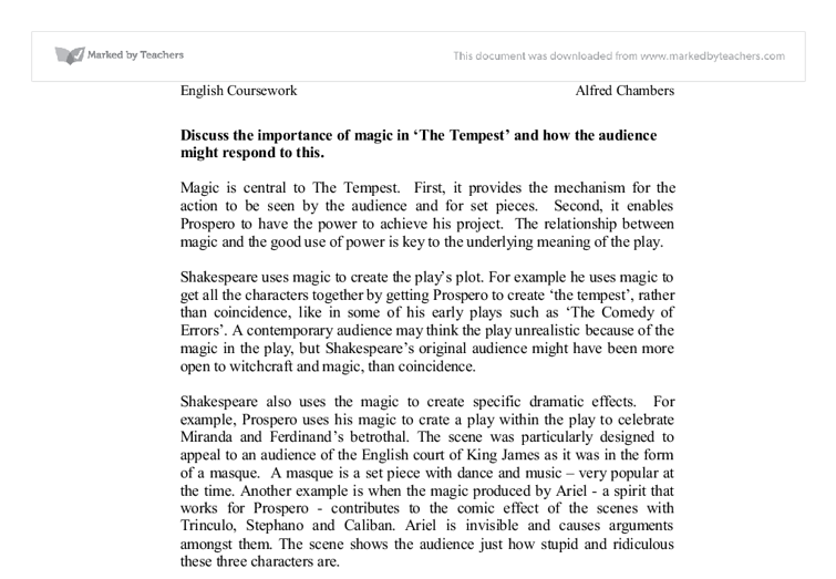 role supernatural tempest Sylvia morris highlights the supernatural in shakespeare's the tempest and  draws up comparisons between a passage in the play and one.