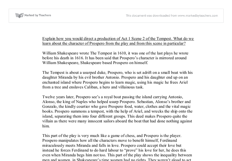 The tempest by william shakespeare essay