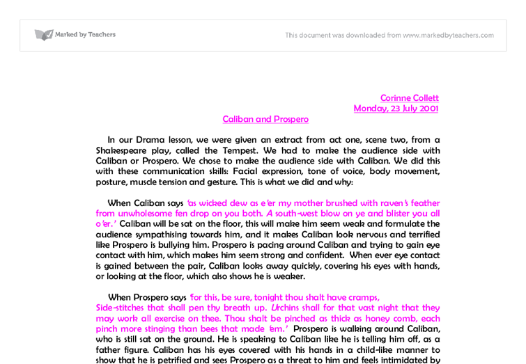 essay on the tempest by shakespeare Free essay: william shakespeare's the tempest generally acknowledged as  one of shakespeare's final plays, 'the tempest' may be described as a romantic.