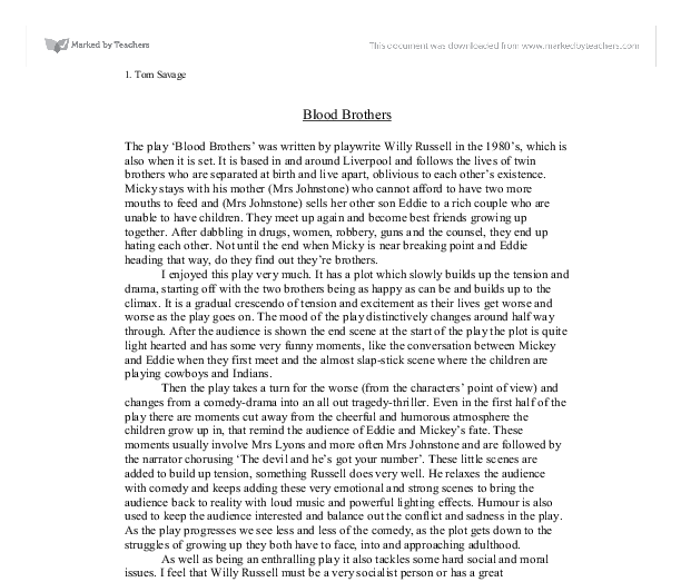 Blood brothers opening scene essay