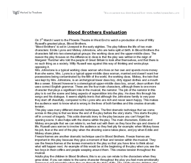 blood brothers essay on class