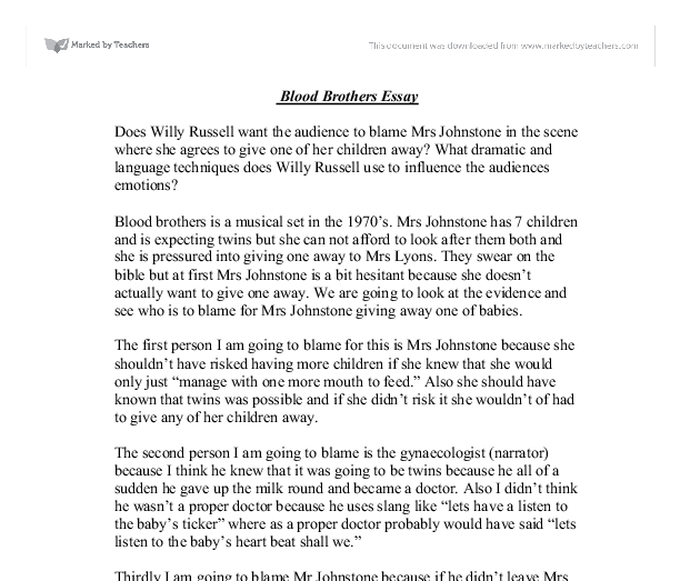 blood brothers essay introduction Essay writing guide  gcse: blood brothers browse by  willy russell is the author of the play 'blood brothers' 'blood brother' is set in liverpool which.