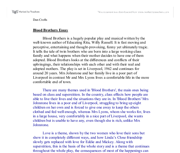 blood brothers themes essay