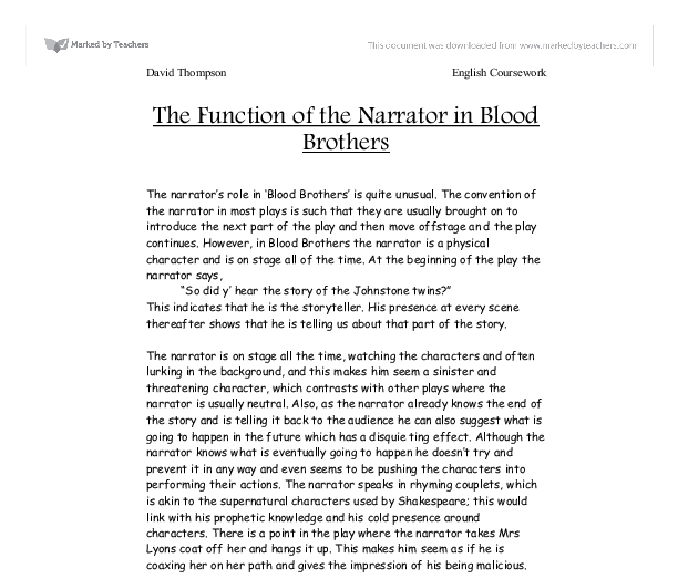 drama blood brothers essay