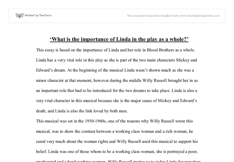 blood brothers what is the importance of linda as a whole gcse  document image preview