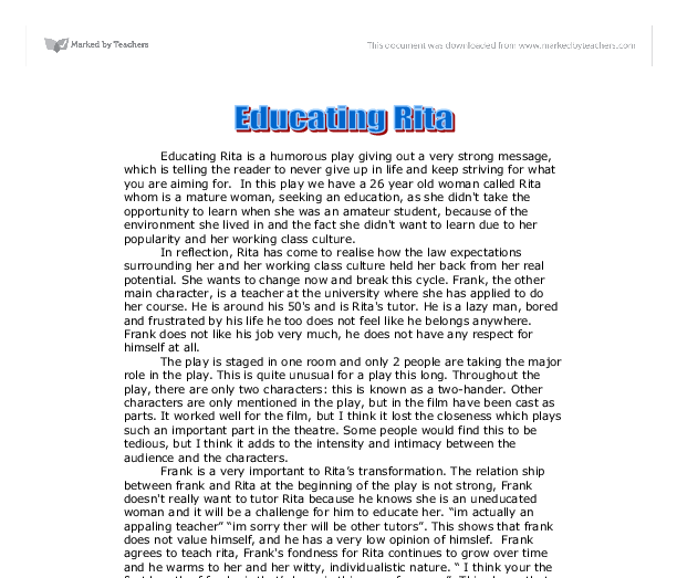 educating rita essay into the world