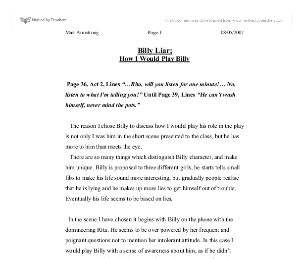 billy liar essay Browse through critical essays on thousands of literary works to find resources for school projects and papers.