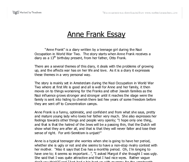Diary of anne frank essay topics