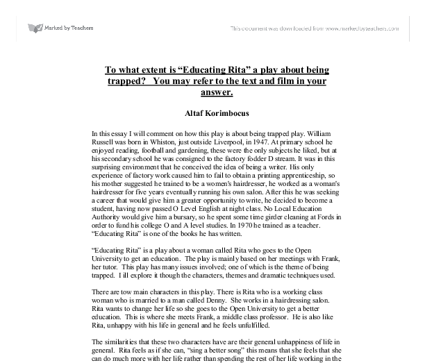 High School Persuasive Essay Topics Educating Rita Essay Questions  St Marylebone School High School Reflective Essay Examples also Buy An Essay Paper Free Essays On Exploring Transitions In Educating Rita What Is Thesis In An Essay