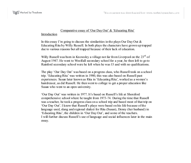 Essay About Good Health Document Image Preview English Essay Short Story also Animal Testing Essay Thesis Comparative Essay Of Our Day Out  Educating Rita  Gcse English  Catcher In The Rye Essay Thesis