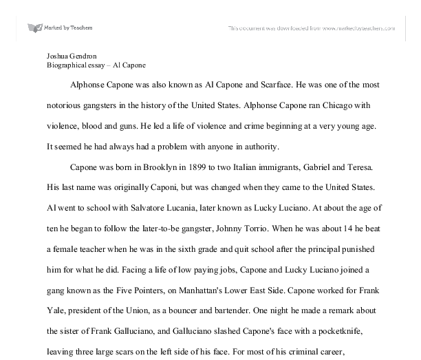 biographical essay al capone gcse english marked by  document image preview
