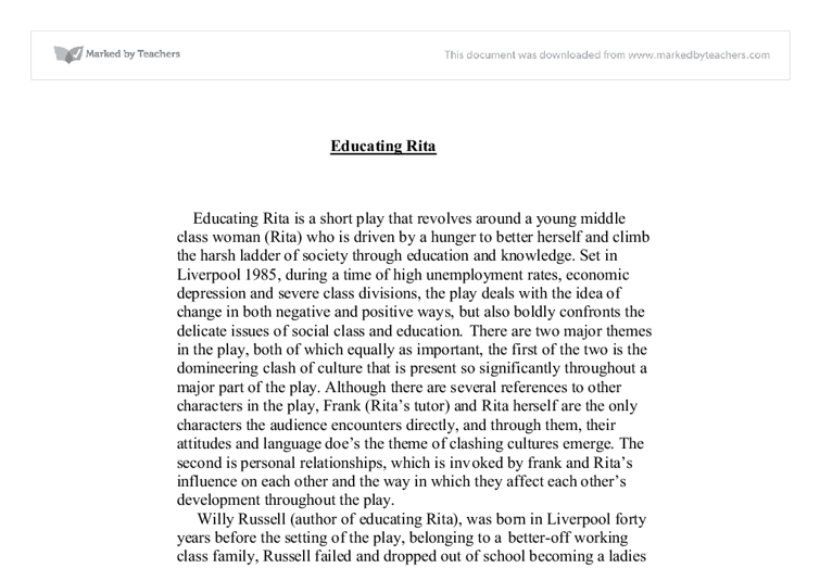 How To Start A Science Essay  Studies Educating Rita Essay Changes In Rita It Changes Rita From  Illiterate Ignorant Woman Studies Argumentative Essay Examples High School also Research Paper Essay Format Educating Rita Essay Changes In Rita  College Paper Academic  English Essay Book