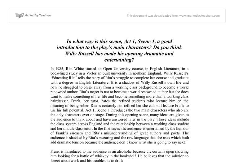 culture in willy russells educating rita essay This essay example has been submitted by a student our writers can make a better one for you hire writer educating rita is a play written by playwright willy russell in the 1980s willy russell appears to be from an educated social class.