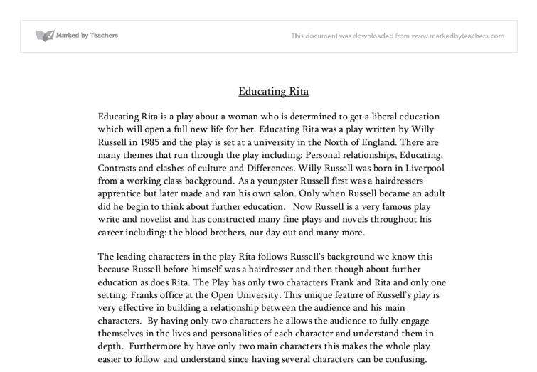opening scene of educating rita essay